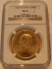 Turkey 1967 (1923/43) Gold 500 Kurush NGC MS-63 Low Mintage - 4,914 Coins Issued