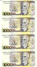 BRAZIL LOT BUNDLE 6X P-216b 1 CRUZADO NOVO ON 1000 CRUZADOS UNCIRCULATED 6 NOTES