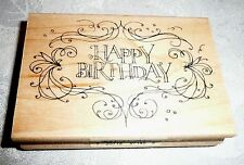 Inkadinkado Wood-Mounted Rubber Stamp HAPPY BIRTHDAY FLOURISH FRAME