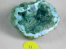 11) Aqua Aura Geode Quartz Blue turquoise  - Crystal Mineral - Great Gift
