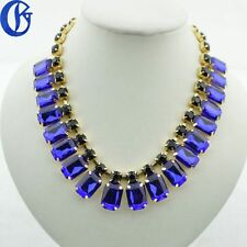 Women's Charm Fashion Jewelry Crystals Purple Black Stones Chunky Bid Necklace