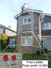 Superb 7m DIY Aluminium Alloy Scaffold Tower Towers - With Free Ladder Pads