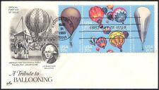 USA 1983 Hot Air Balloons/Balloon/Flight/Aviation/Transport 4v blk FDC (n10912)