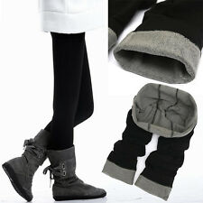 Winter Black Bamboo Carbon Fiber Leggings Double Thermal Warm Footless Pants