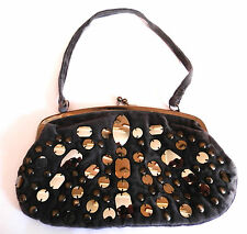 ACCESSORIZE GREY VELVET CLASP FASTEN EVENING BAG, SEQUIN DETAILING, SINGLE STRAP