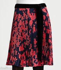NWT $425 Tory Burch Floral Print Pleated Silk Skirt Size 4