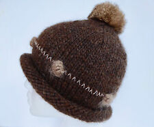 NWOT Women's Hand knitted Wool Beenie Hat Rabbit Pom Rolled Edge Amanda Aaron