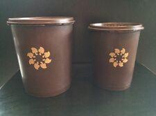 Vintage Tupperware Lot Brown Servalier Canister Set With Lids Mushroom Sunburst