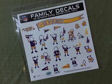 NFL MINNESOTA VIKINGS FAMILY AUTO DECAL SET OF 25 DECALS