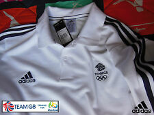 ADIDAS TEAM GB ISSUE - RIO  OLYMPICS 2016 - ATHLETE WHITE COTTON POLO SHIRT