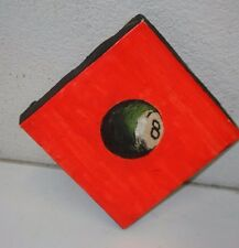 Vibrant Neon Orange Eight Ball Square Oil Painting Billiards Pool Pop Art Bar