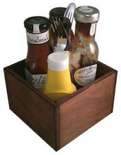 Wooden Takeaway Condiment Holder Square Table Top Dark Oak Bar Restaurant