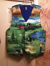 MENS WAISTCOAT- HANDMADE TO FIT YOU- GOLFER GOLF BALLS PROM ETC (SEE X12 PICS)