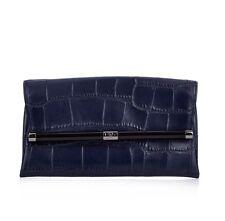 DIANE von FURSTENBERG DVF NWT $248 Dark Navy Croc Leather Envelope Clutch 440