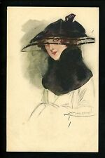 Artist Signed Vintage postcard L.A. Mauzan woman w/ black hat