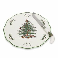 """Spode APPETIZER PLATE w/ CHEESE KNIFE Christmas Tree 9"""" 2012 Hors D'Oeurve NEW"""