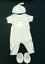 MY FIRST EASTER OUTFIT FOR BOY 6-9 MONTHS, ONESIE, HAT & BOOTIES - NEW WITH TAGS