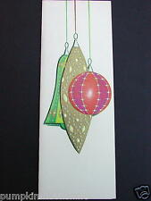 Vintage Unused Xmas Greeting Card Gold Accented Holiday Glass Ornaments