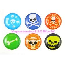 6x Cool Skull Soft Plastic Round Home Button Sticker For iPad2 iPhone 4 4S 5 #11
