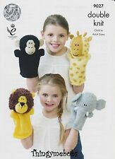 KING Cole 9027 giungla animali Hand Puppets ORIGINALE knitting Pattern-DK