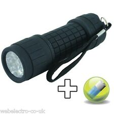 18605 Super 9 LED Rubber Handheld Flashlight Camping Torch Lamp with Battery