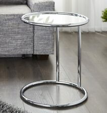 Table d'appoint Art Deco de chrome et verre