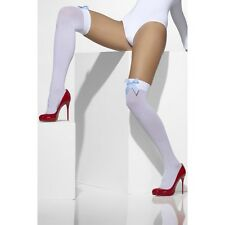 Womens White Hold Up With Gingham Bow Valentine Sexy Naughty Thigh High Stocking