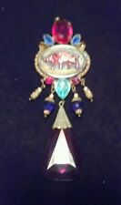 Very Lg Vintage look czecho czech Pig Red Blue crystal glass pendant FREE SHIP