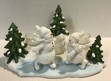Yankee Candle Snowman Snow Days Skiing Skate Scene 3 Tealight Candle Holder New!