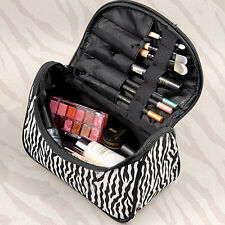Women Makeup Cosmetic Case Toiletry Bag Zebra Travel NEW Handbag Organizer pouch