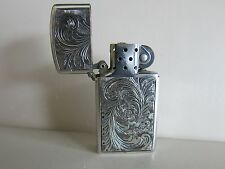 Vintage  Sterling Silver Slim Zippo Lighter Made in ITALY