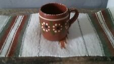 made in Mexico hand painted clay mug