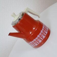 knallrote emaillierte Metall Kanne Kaffeekanne 1,7 Liter 50er 60er Jahre TOP