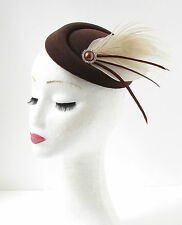 Cream Brown Peacock Feather Pillbox Hat Fascinator Headpiece Races Vintage 172