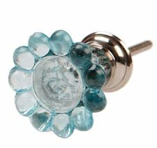 BIG LARGE GLASS FLOWER KNOB FURNITURE DRAWER PULL HANDLE BLUE CLEAR