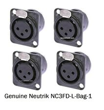 4 Neutrik NC3FD-L-B-1 3-Pin XLRF Black/Gold Panel Mount w/Solder Cups