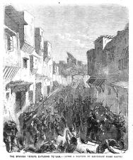MOROCCO Spanish Troops entering the Town of Tetouan - Antique Print 1860