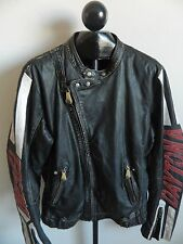 Rare Diesel Mens Leather Daytona Motorcycle Distressed Jacket Size XL Black Red