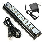 10 Port Hi-Speed Splitter USB 2.0 Hub + AC Power Adapter For PC Laptop Computer