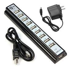 10 Puerto Alta Velocidad Separador USB 2.0 Hub+adaptador AC para Portátil PC