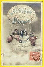 cpa Cachet MOUCHAMPS HEUREUSE PÂQUES Ballon Montgolfière OEUFS Lampions Enfants