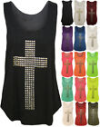 NEW WOMENS LADIES GOTHIC STUD CROSS NEON RACER BACK SLEEVELESS T SHIRT VEST TOP