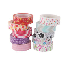 1.5cm x 10m Colorful Scrapbook Washi Paper Tape Sticky Adhesive Sticker 10PC