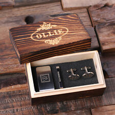 Personalized Men's Gift Set Oval Cuff Links, Money Clip, Tie Clip and Wood Box