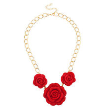 Lux Accessories Red Floral Flower Statement Necklace