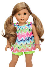 Tiered Top & Floral Lace Shorts Clothes for 18 inch American Girl Doll