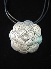 """JJ"" Jonette Jewelry Silver Pewter 'Layered FLOWER' 22"" Necklace"