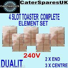 DUALIT 4 SLOT SLICE TOASTER COMPLETE ELEMENT SET 2 X END 3 X CENTRE PARTS SPARES