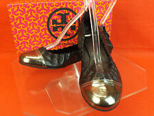 NIB TORY BURCH ABBEY BLACK SILVER LEATHER REVA MEDALLION FLATS 7.5 $225