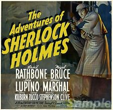 VINTAGE THE ADVENTURES OF SHERLOCK HOLMES MOVIE POSTER A4 PRINT
